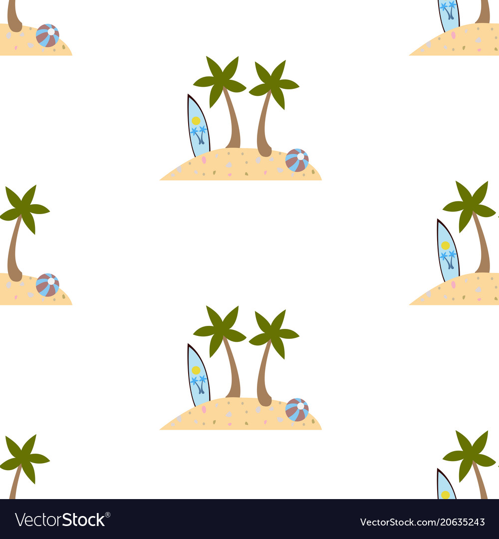 Seamless summer pattern with isolated island