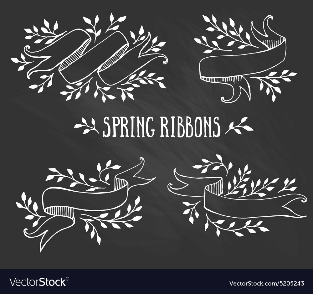 Set chalk spring ribbons with leaves