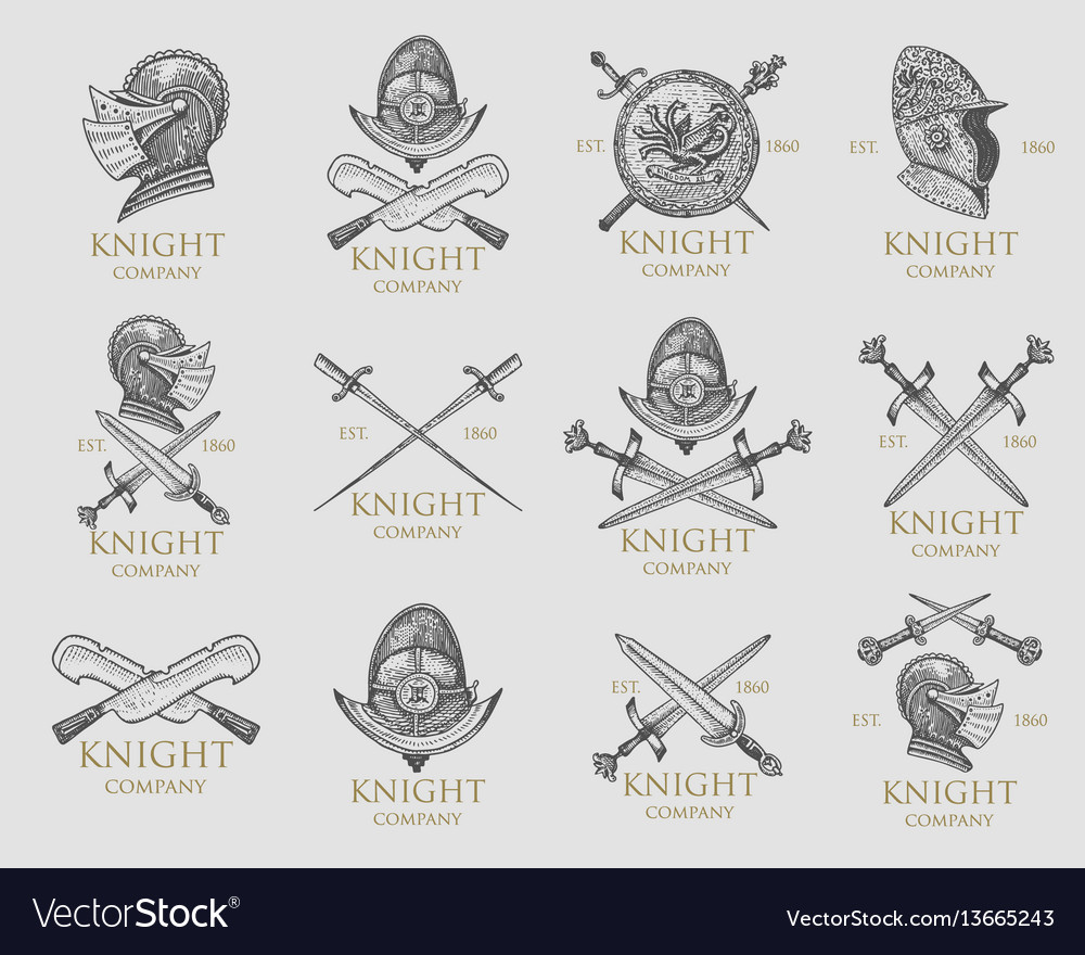 Set monochrome knights emblems badges labels