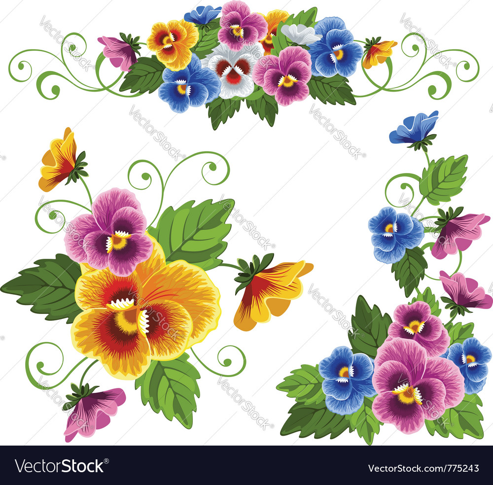Set of floral patterns with pansy