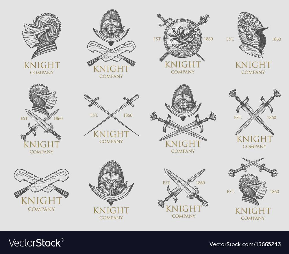 Set of monochrome knights emblems badges labels