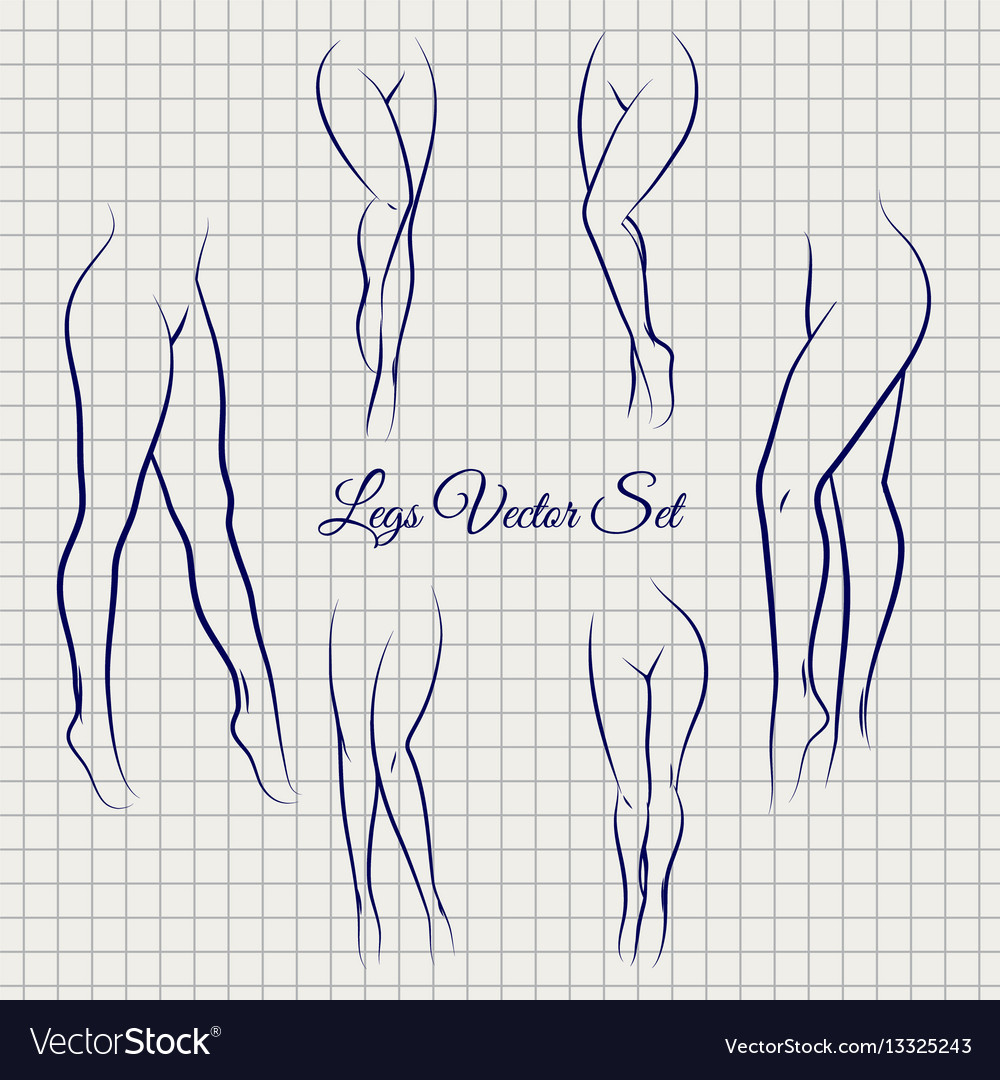 Sexual woman legs sketch collection