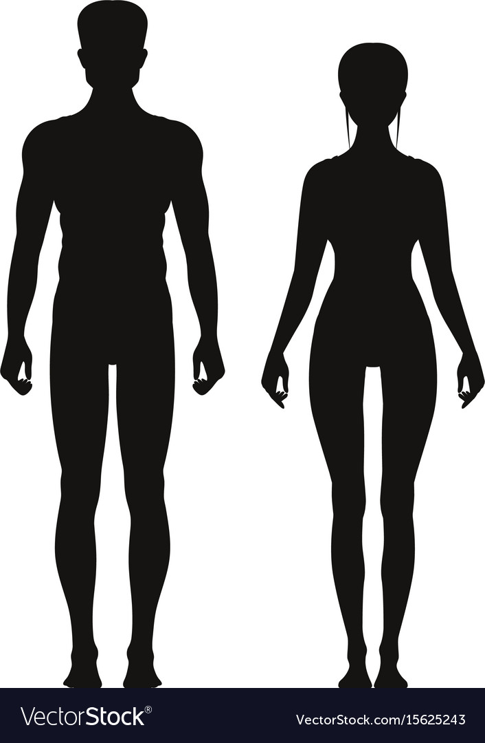 Silhouette of sporty male and female standing