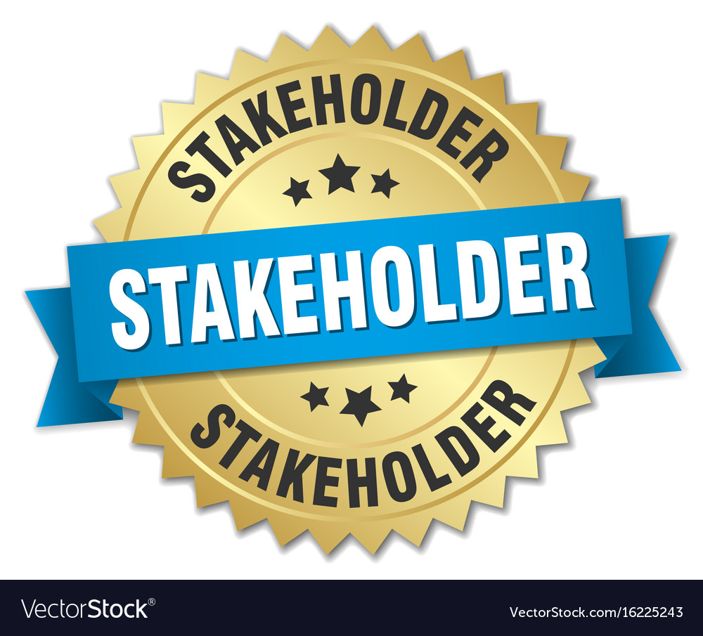 Stakeholder round isolated gold badge