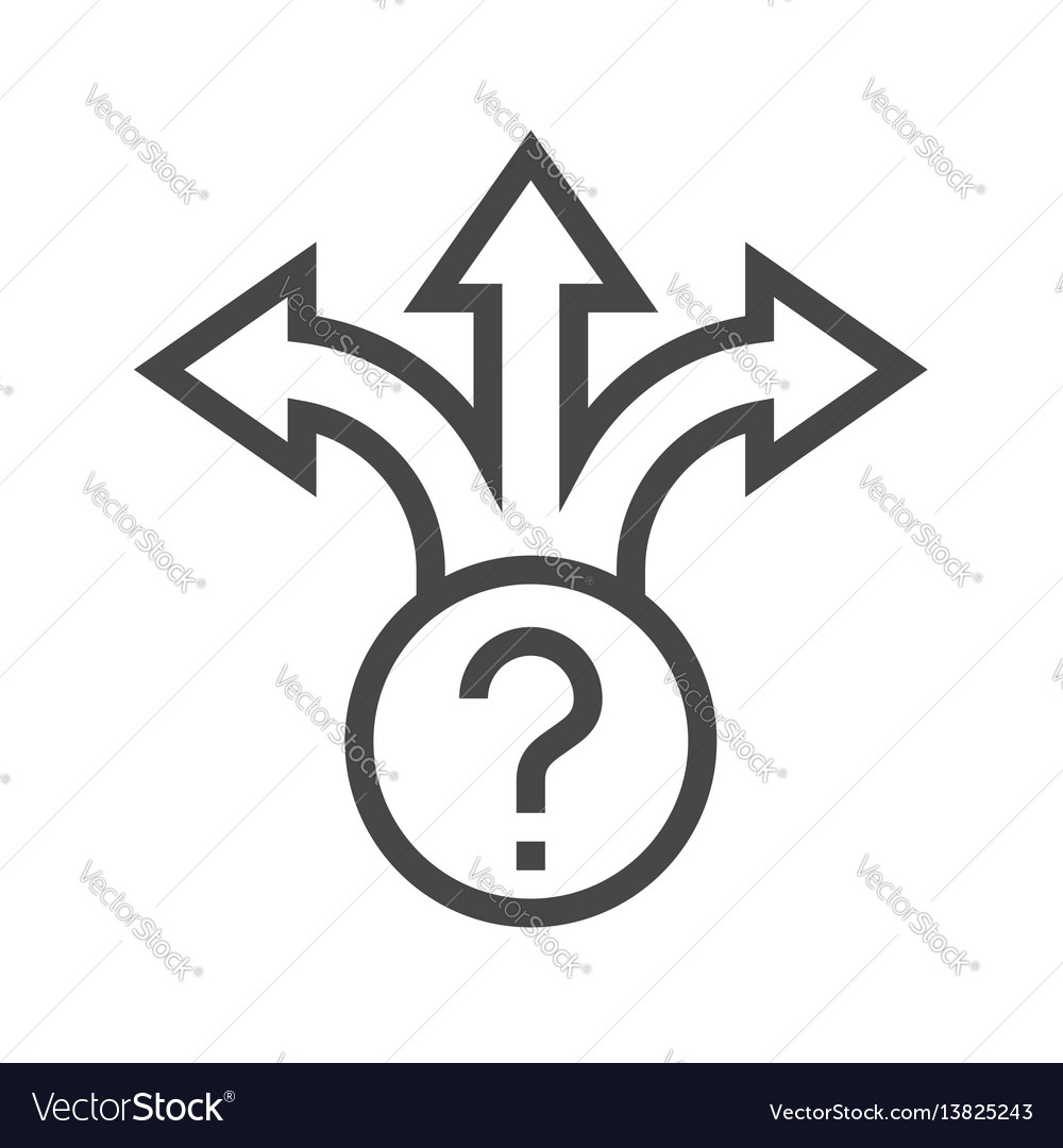 Three-way direction arrow thin line icon vector image