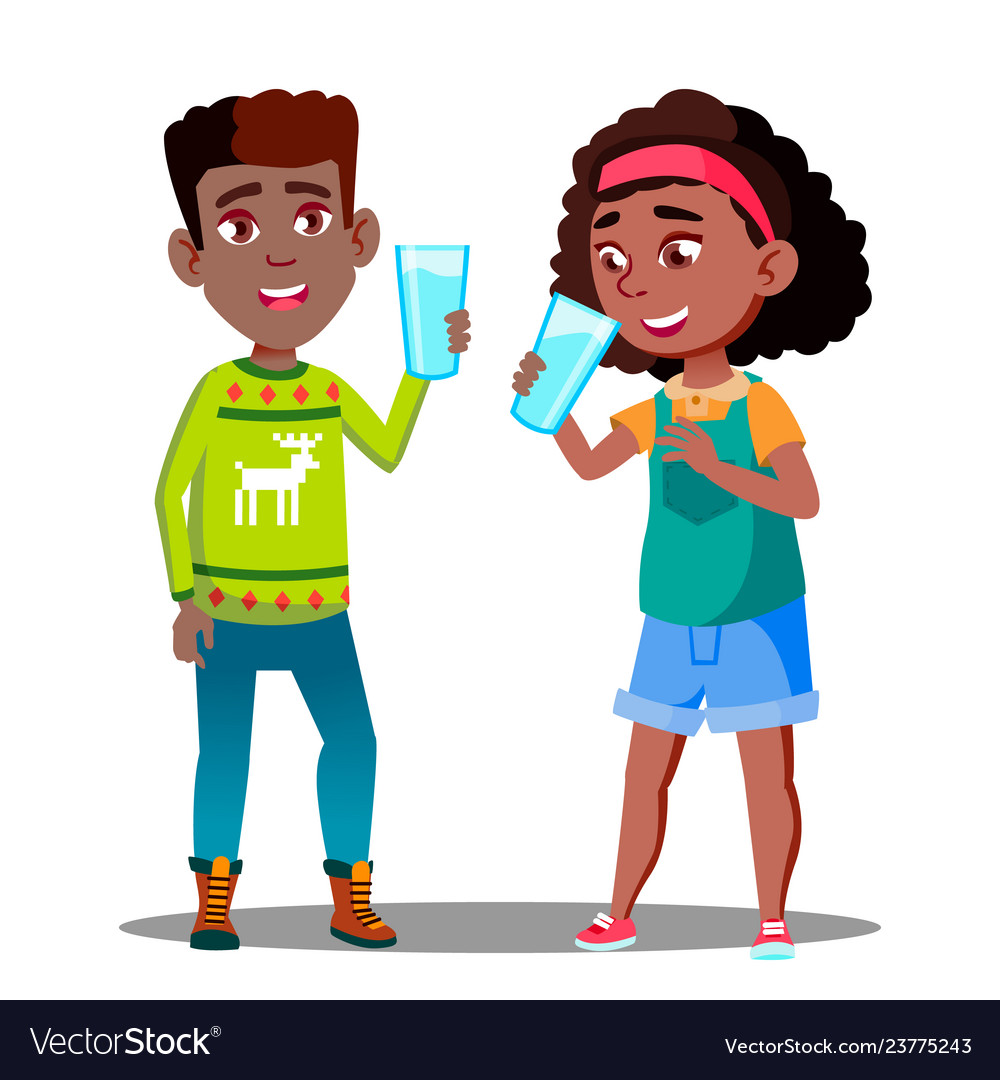 Two afro american kids drinking organic milk from