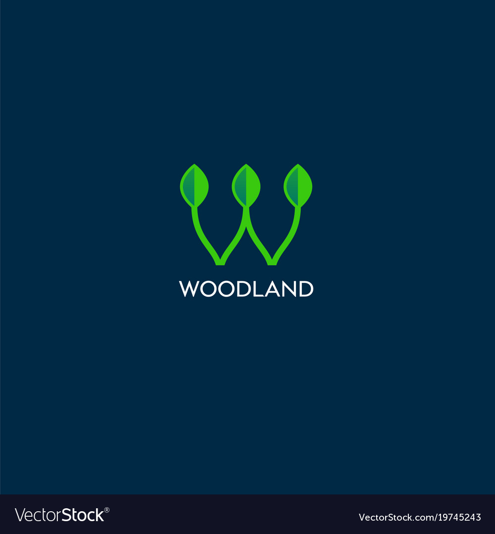 Woodland logo with leaves