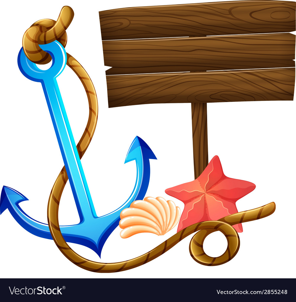 An empty signboard with an anchor and a rope vector image
