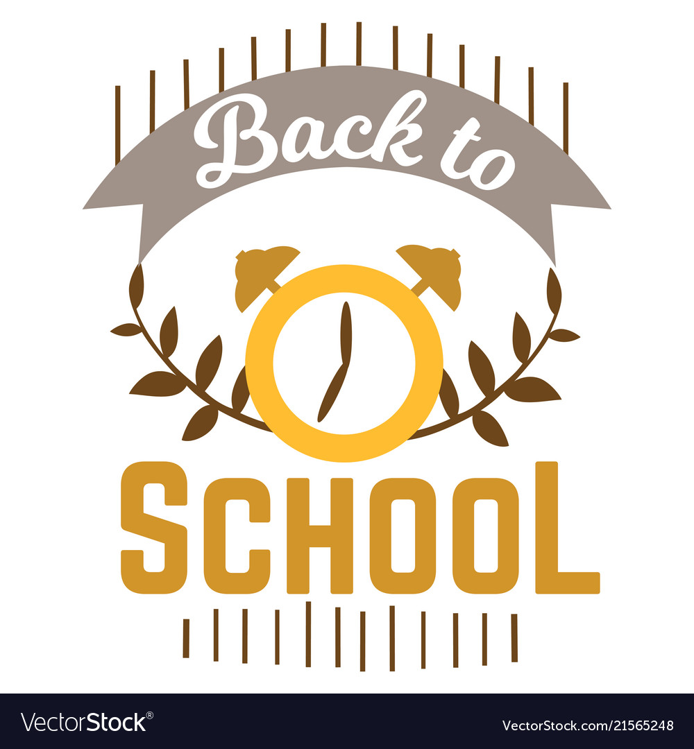 Back to school logo with clock and ribbon for