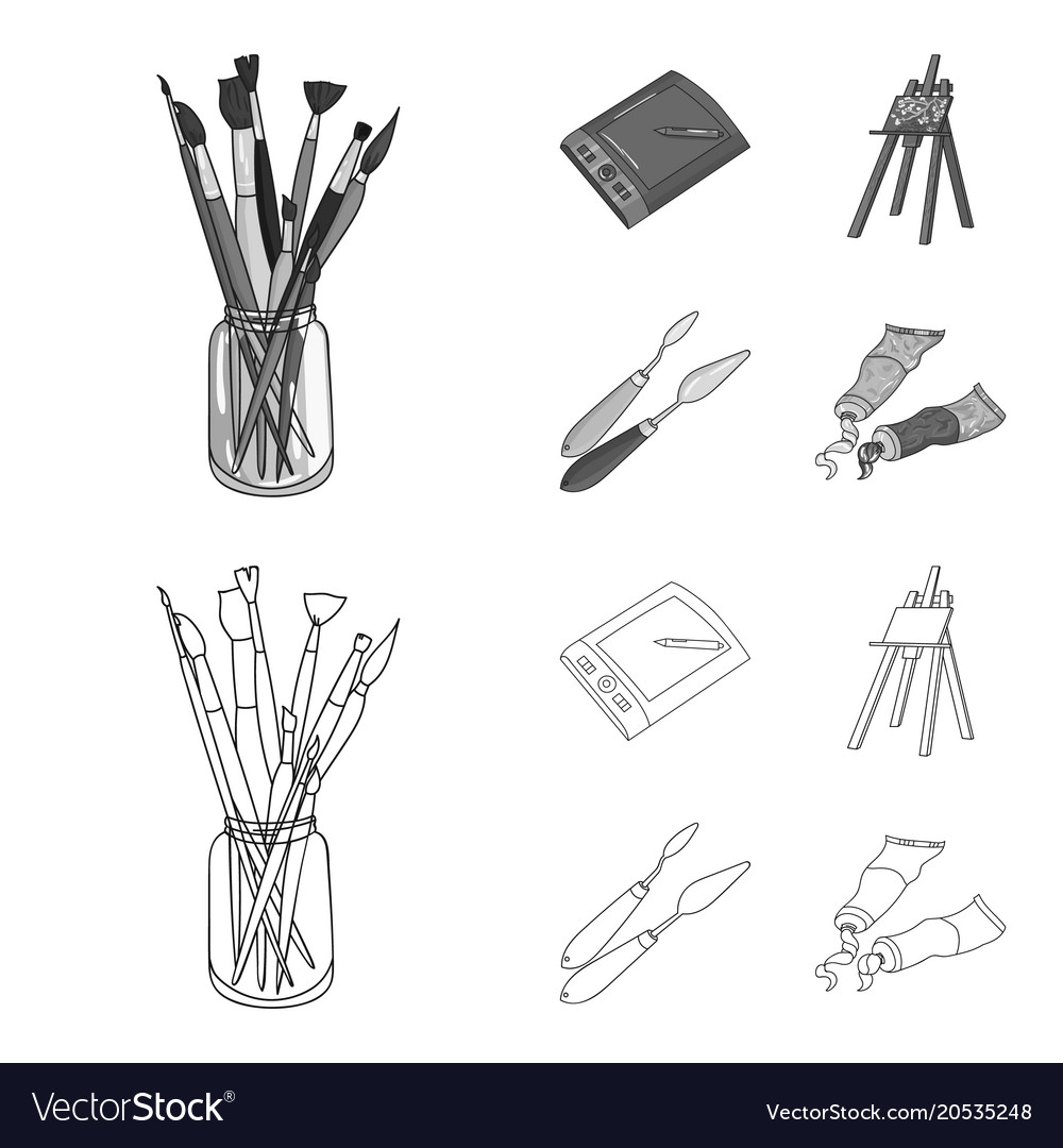 bank with brushes a drawing board an easel with vector image