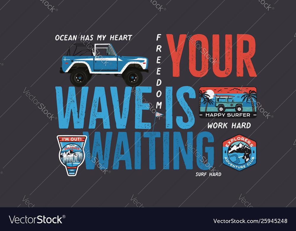 Camping surf badge design outdoor adventure logo