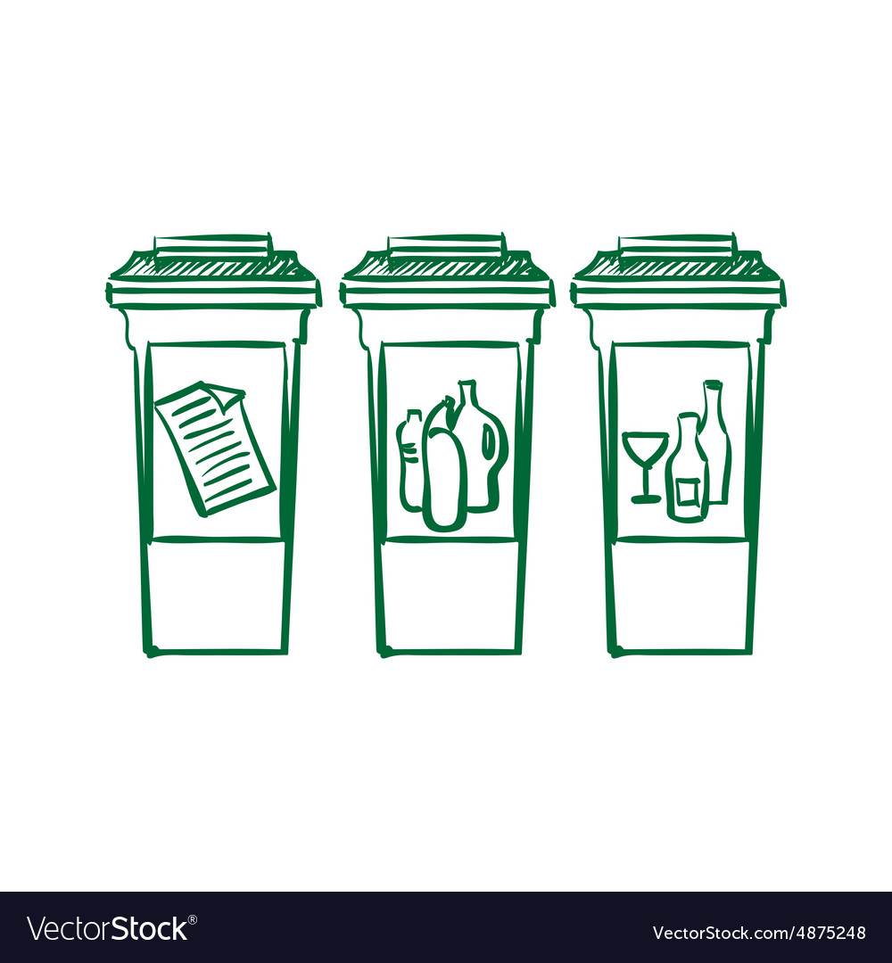 Doodle Recycle bins garbage separation vector image