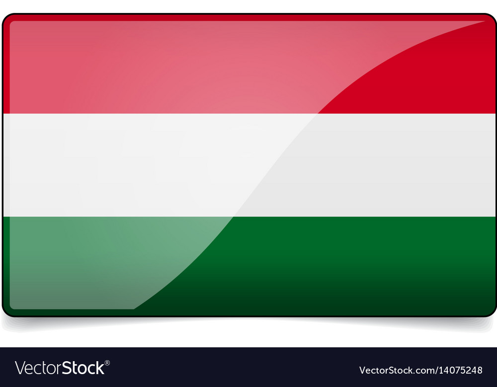 Hungary flag button with reflection and shadow