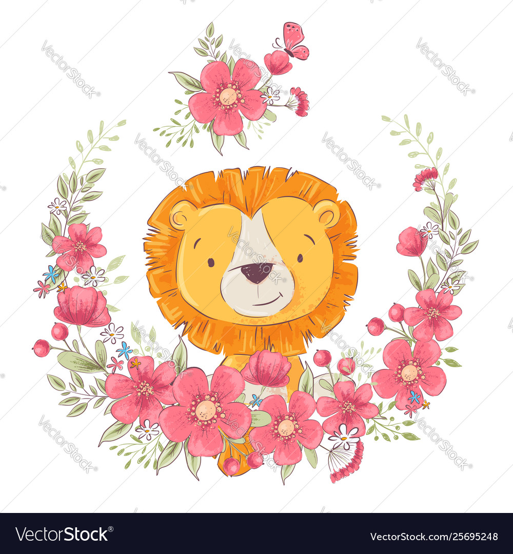 Postcard poster cute little leon in a wreath of