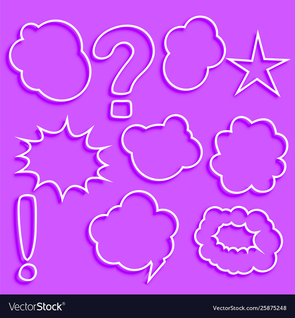 Set comic chat bubbles and expression set