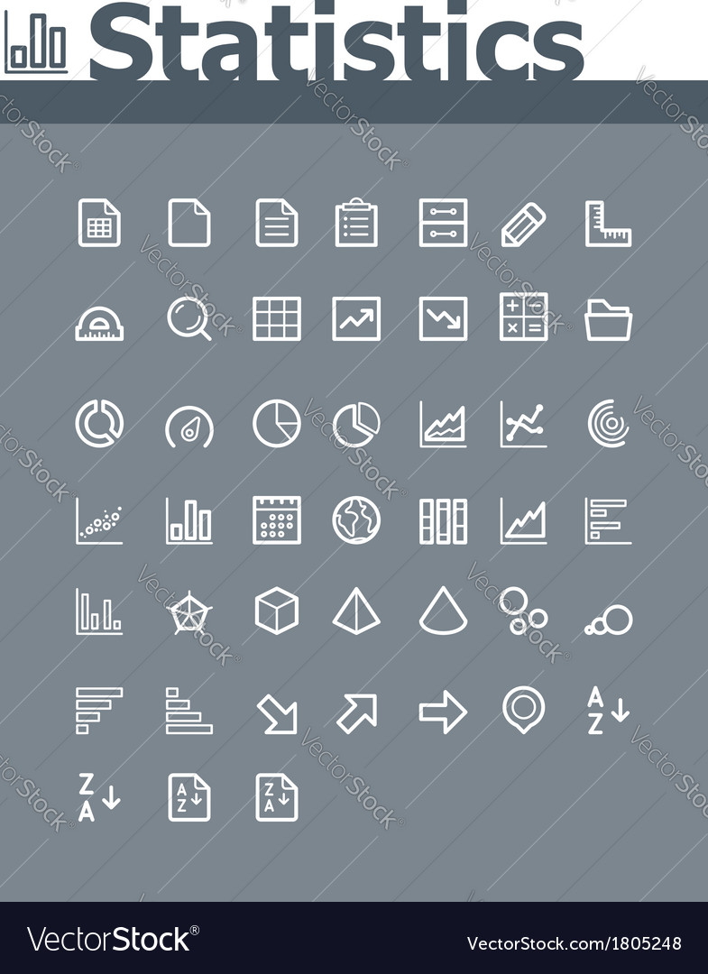 Statistic elements icon set vector image