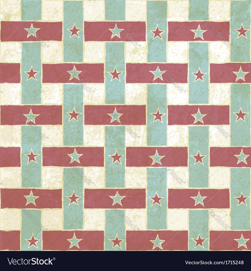 Vintage seamless pattern with stripes and stars