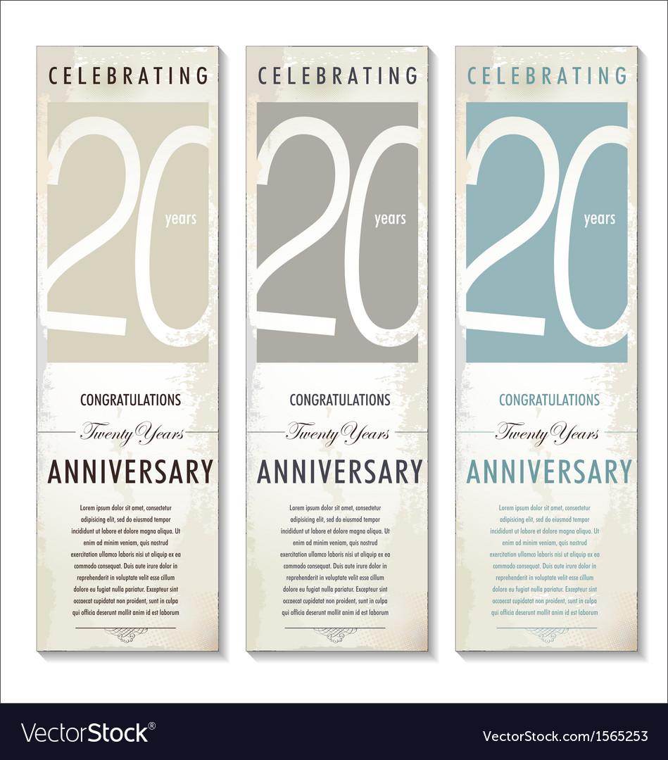 20 years Anniversary retro banner set