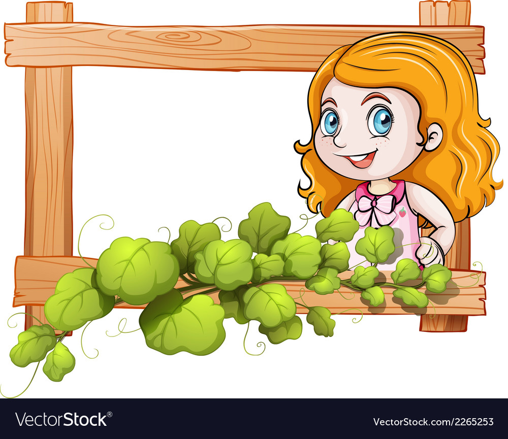 A frame with a lady and green plants