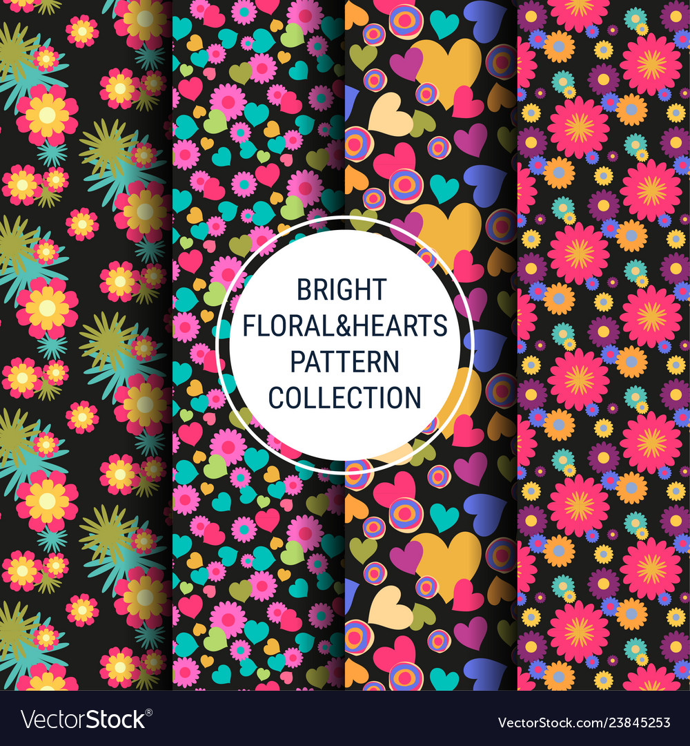 Bright floral and hearts patterns