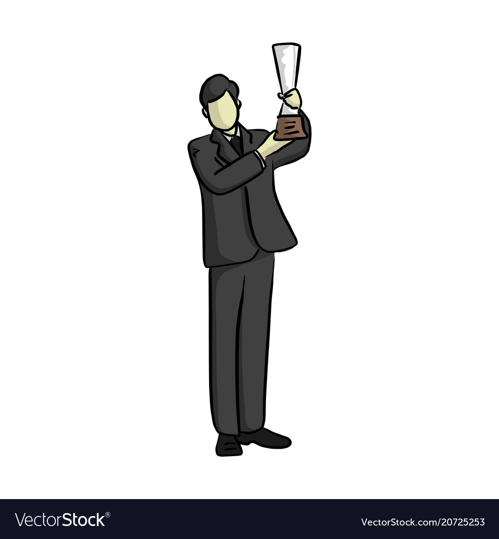 Business man holding trophy with two hands