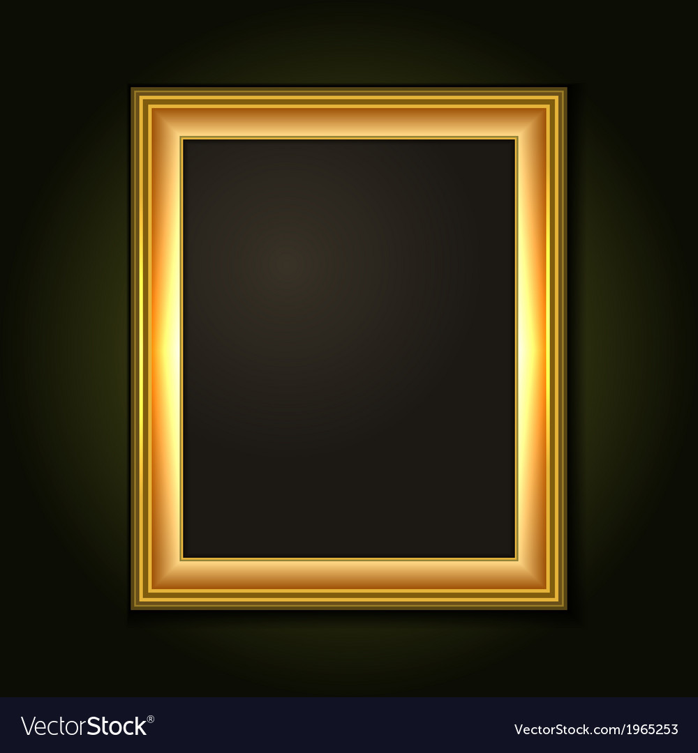 Gold Picture Frame with Dark Canvas vector image