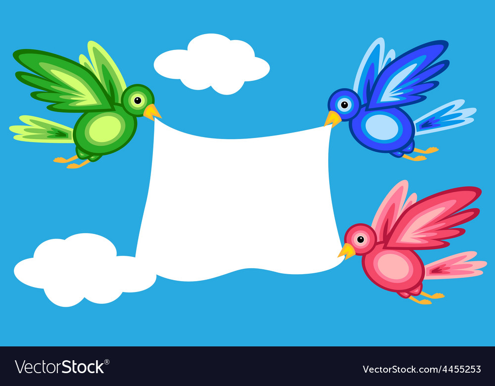 Graphic shape birds holding banner vector image