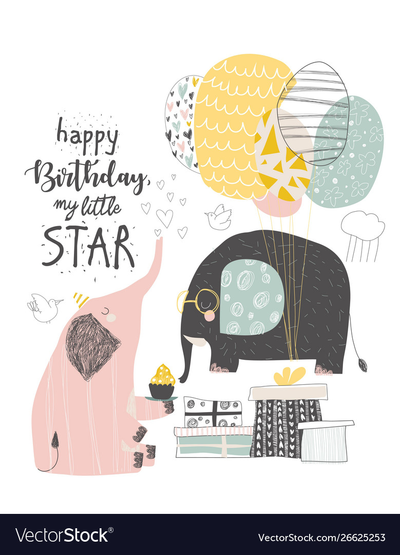 Greeting birthday card with cute elephants and