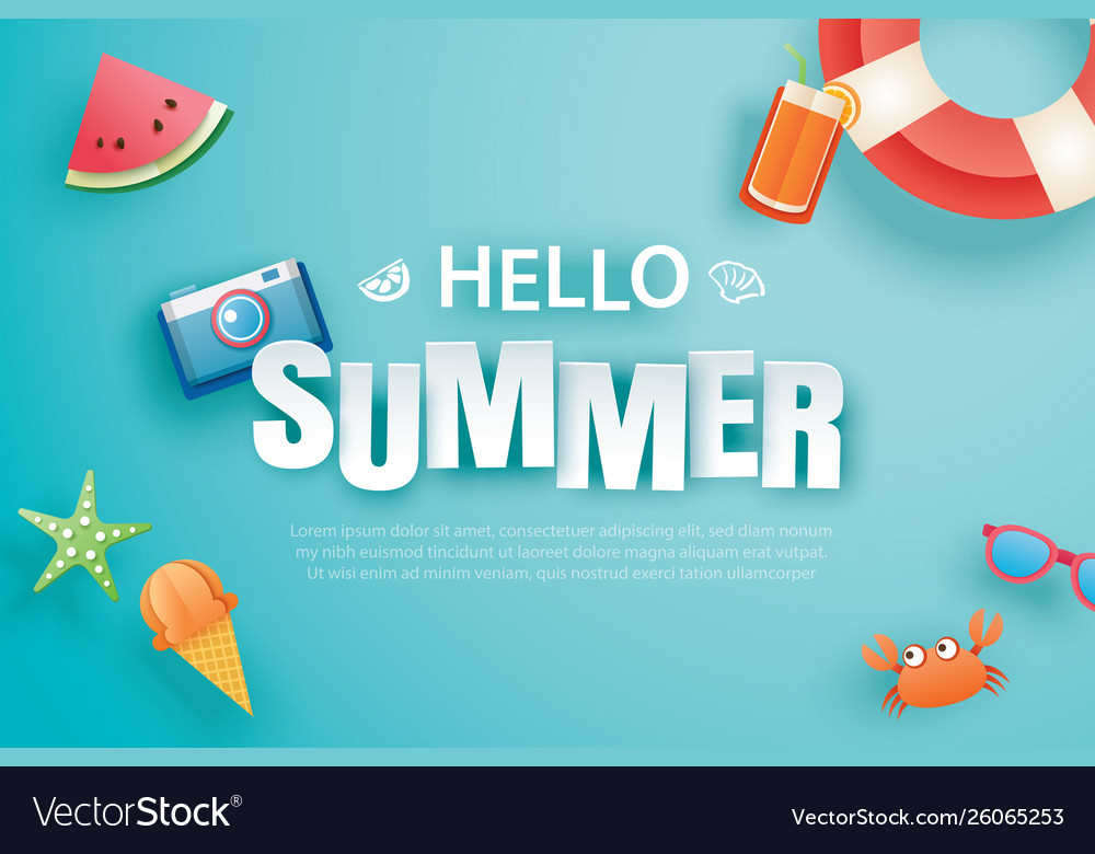 Hello summer with decoration origami on blue