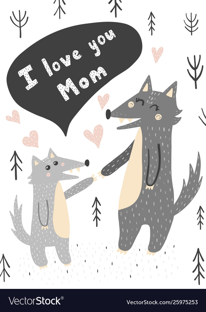 I love you mom card with wolves