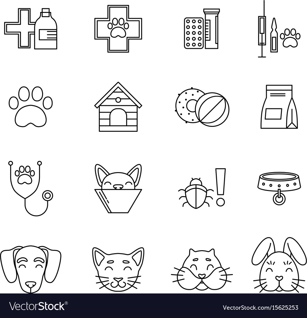 Linear icons set of veterinarian clinic different