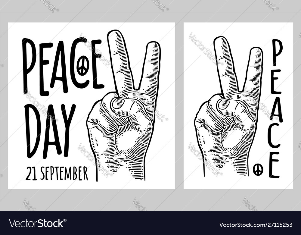 Male hand sign victory sign or peace sign or