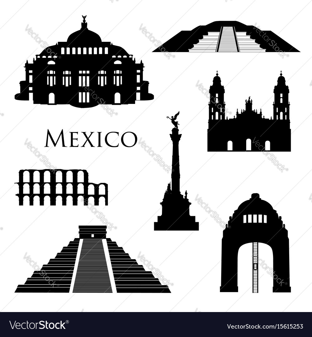 Mexico city landmarks icon set famous buildings