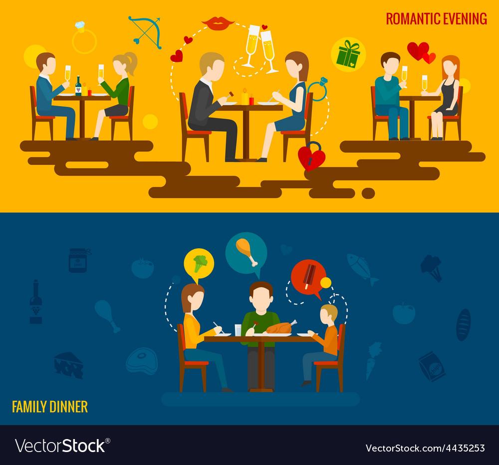 People In Restaurant Banner vector image