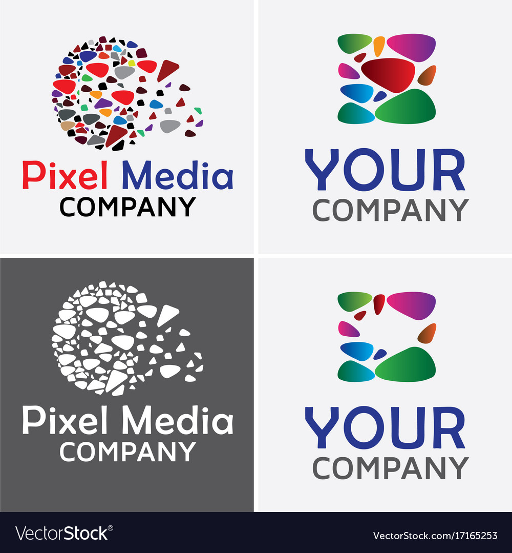 Pixel media logo template vector image