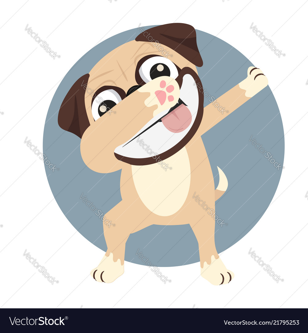 Pug doing dabbing smile face