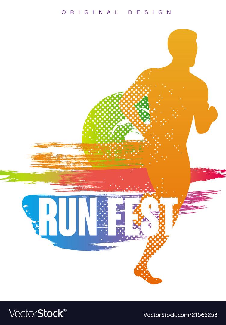 run fest original gesign colorful poster template vector image