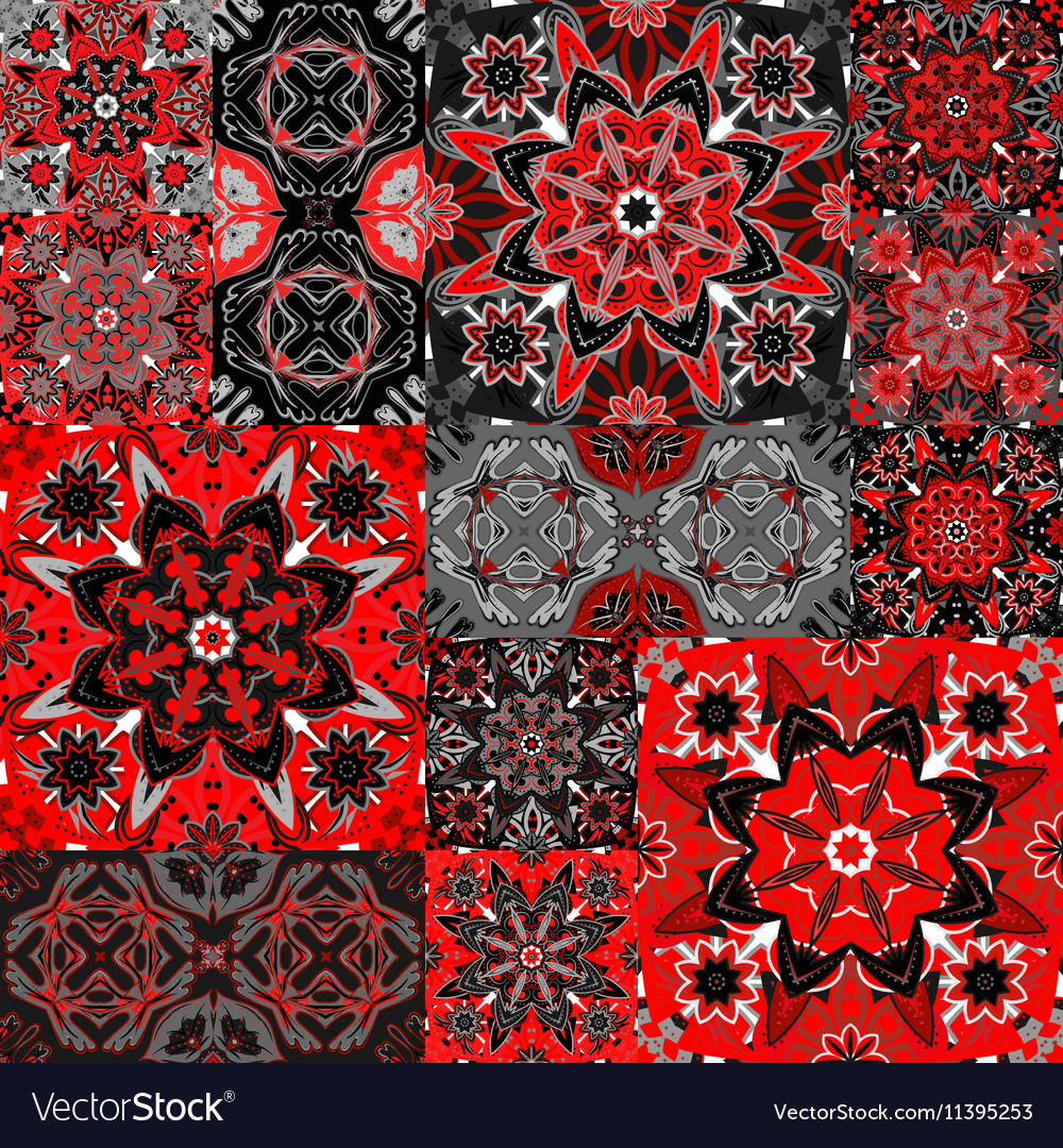 Seamless floral patchwork pattern
