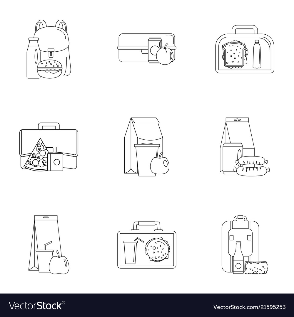 Takeout food icons set outline style