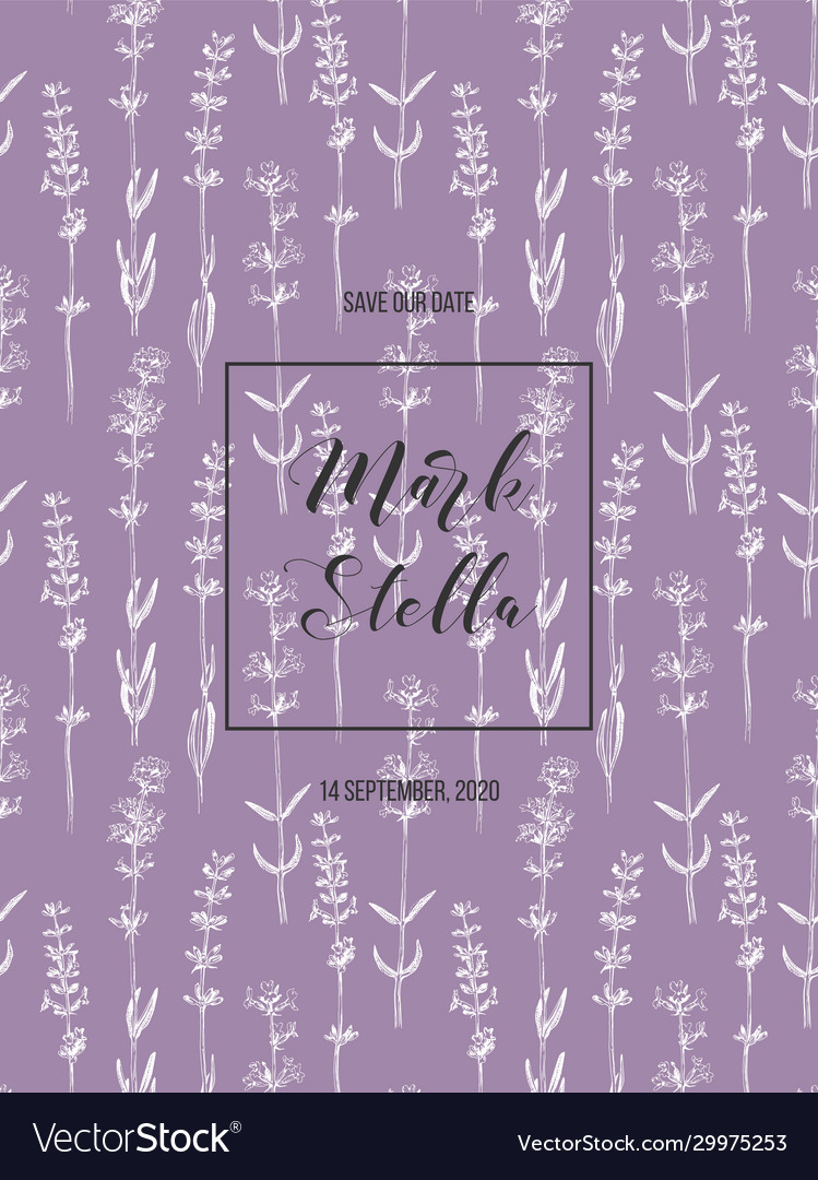 Wedding invitation with lavender flowers