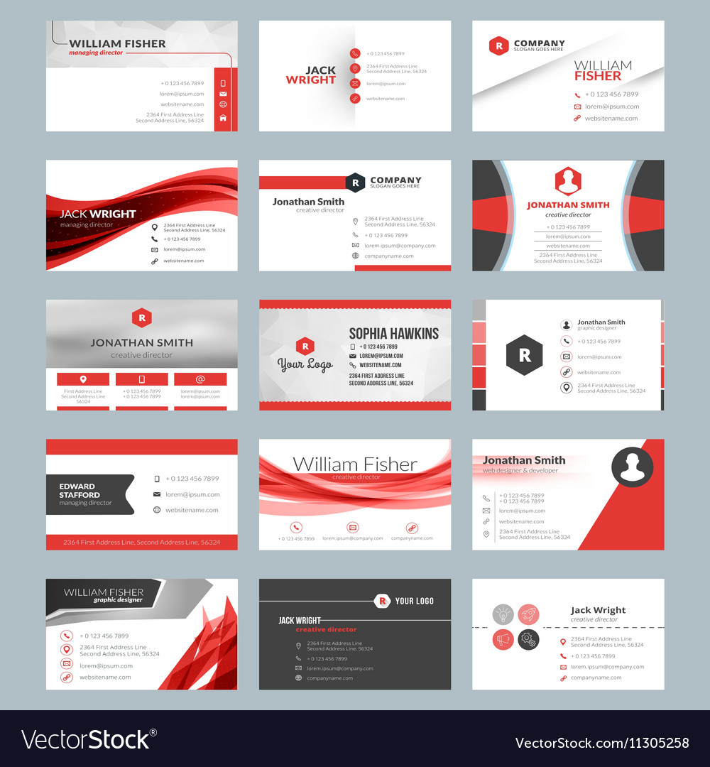 Business card templates stationery design set red vector image accmission Image collections