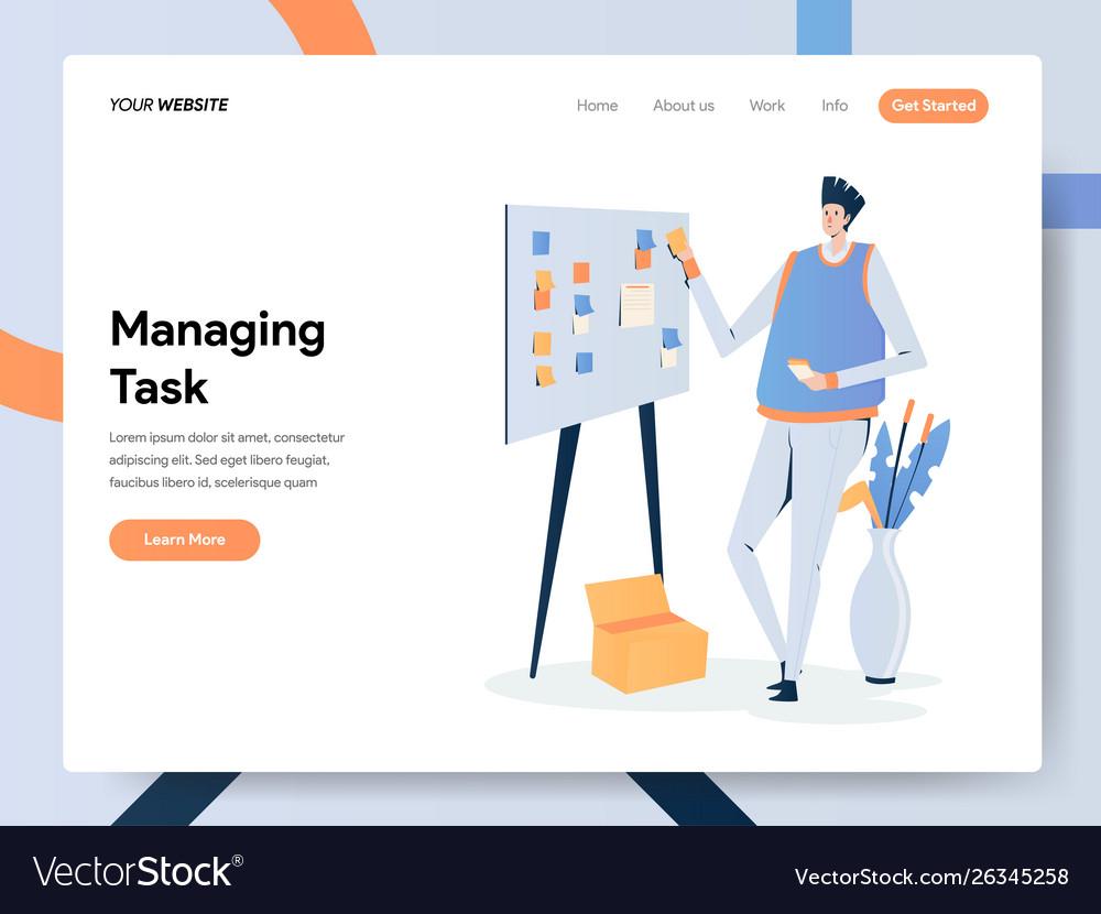 Businessman managing task on board concept