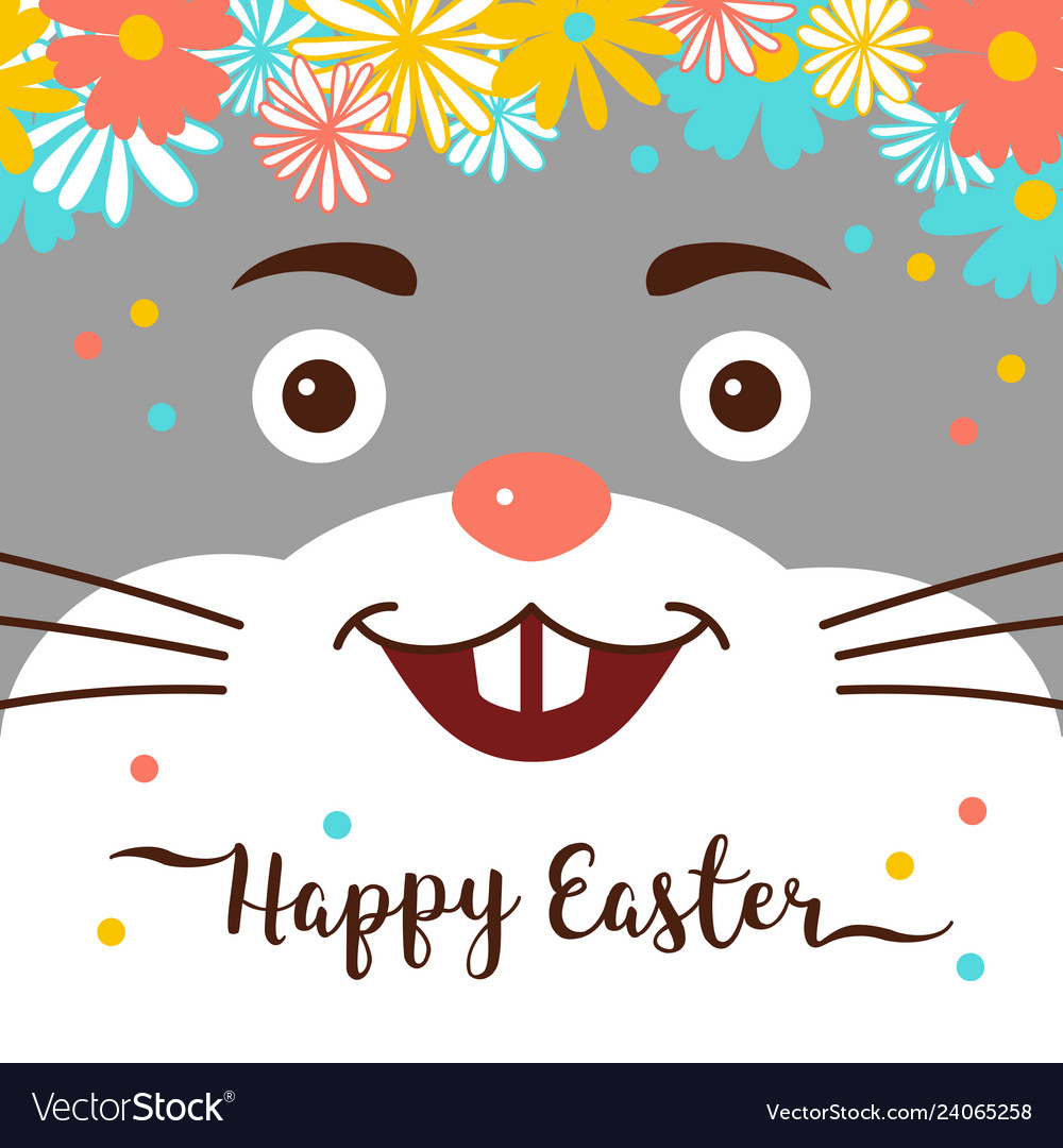 Easter bunny happy easter card cute rabbit with