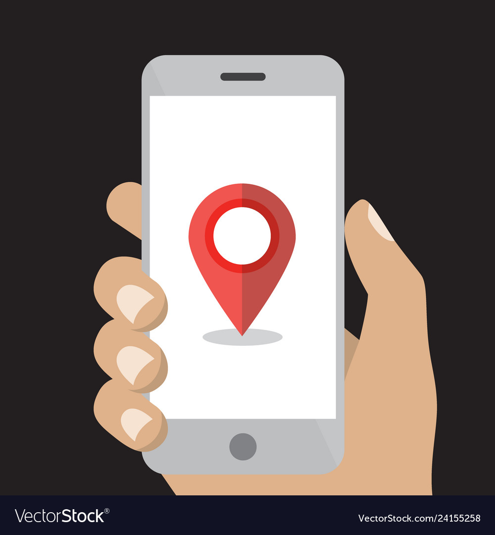 Hand holding white smartphone with map point