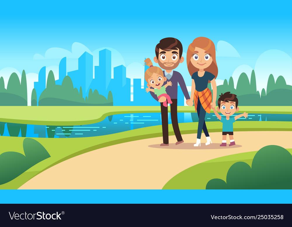 Happy family walks walk park city nature