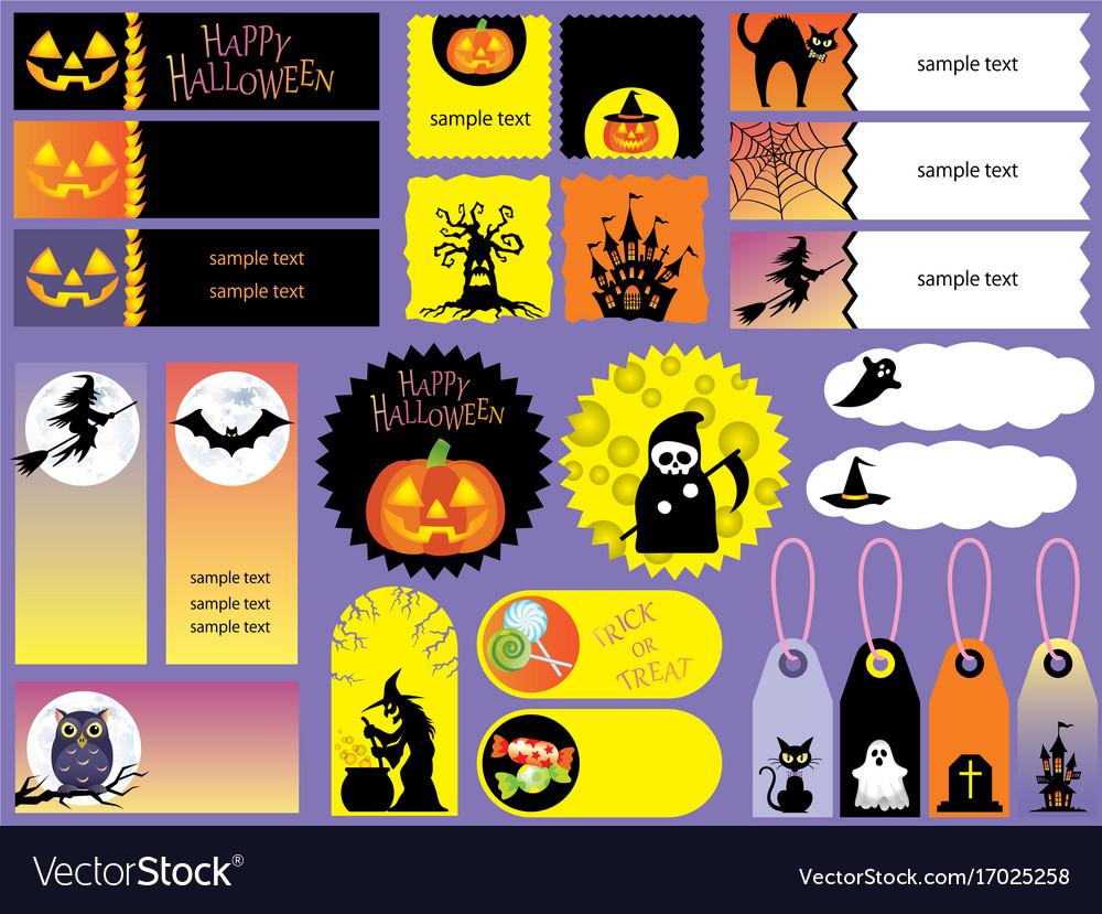 happy halloween index card set royalty free vector image