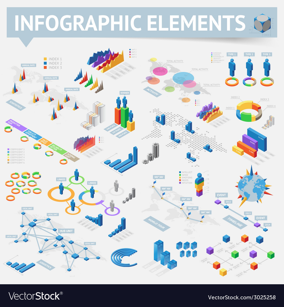 Isometric style infographics with data icons