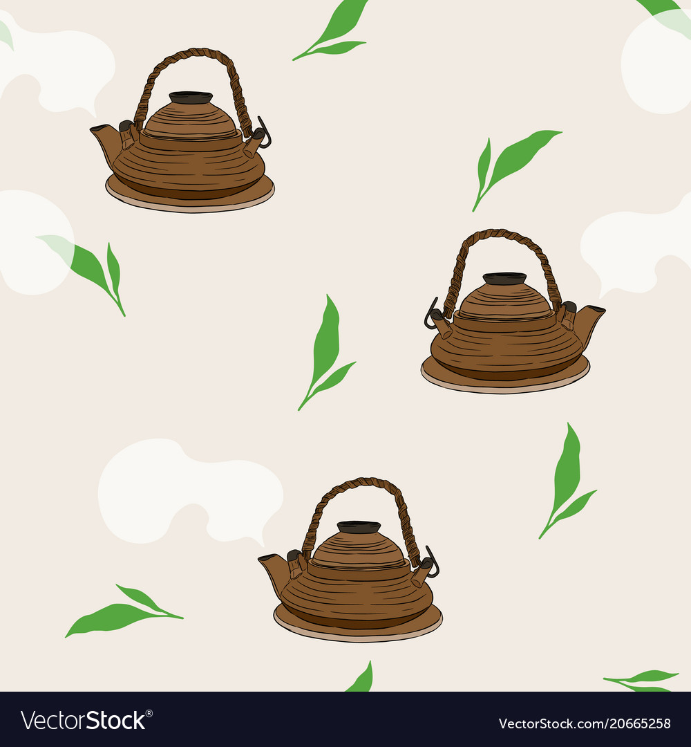 Japanese tea kettle engravedseamless pattern