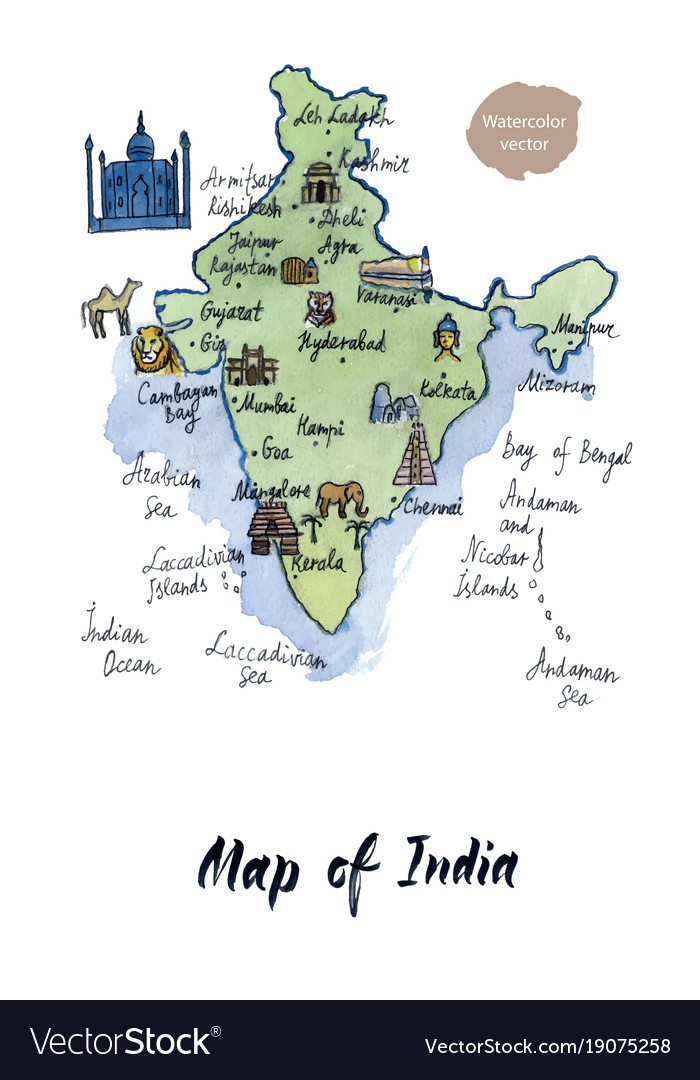 Map of india watercolor