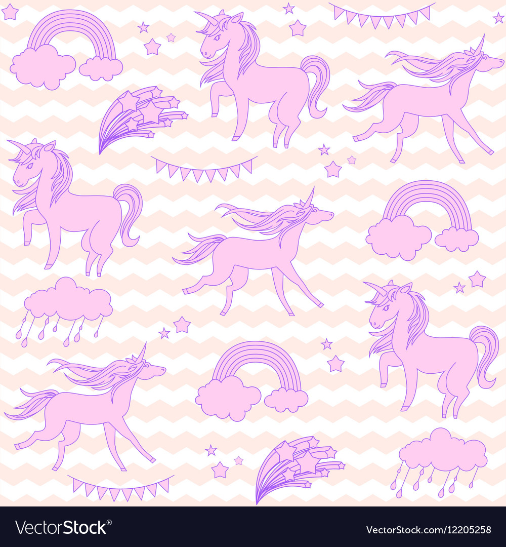 Pink unicorns with stars on a white and beige vector image